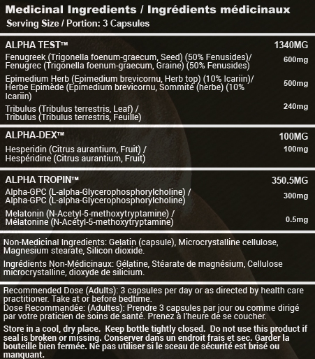 ALPHA nutrition facts