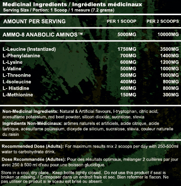 AMMO-8 nutrition facts