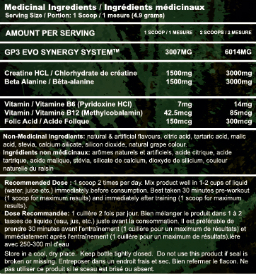 GP3 EVO Nutrition Facts