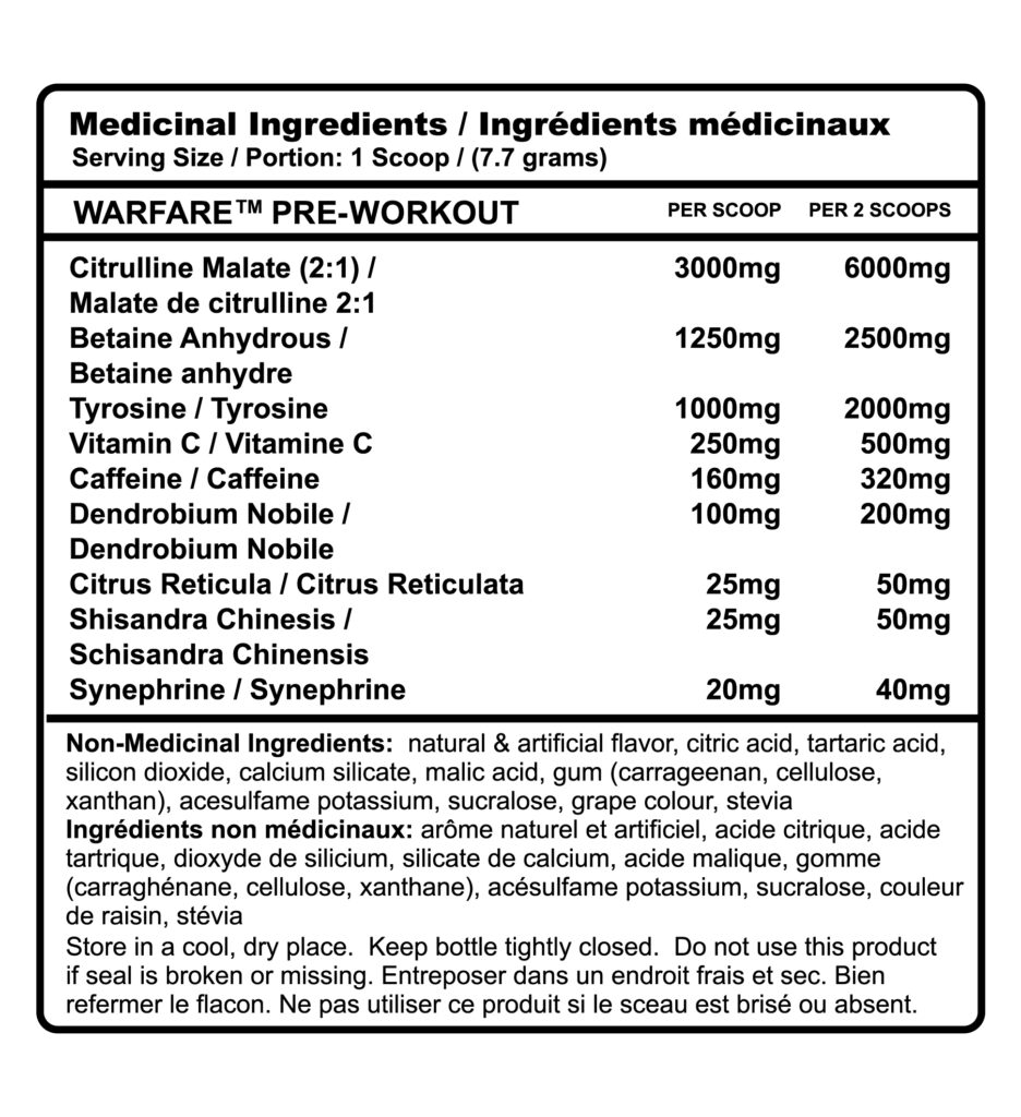 Warfare Grape Nutrition facts