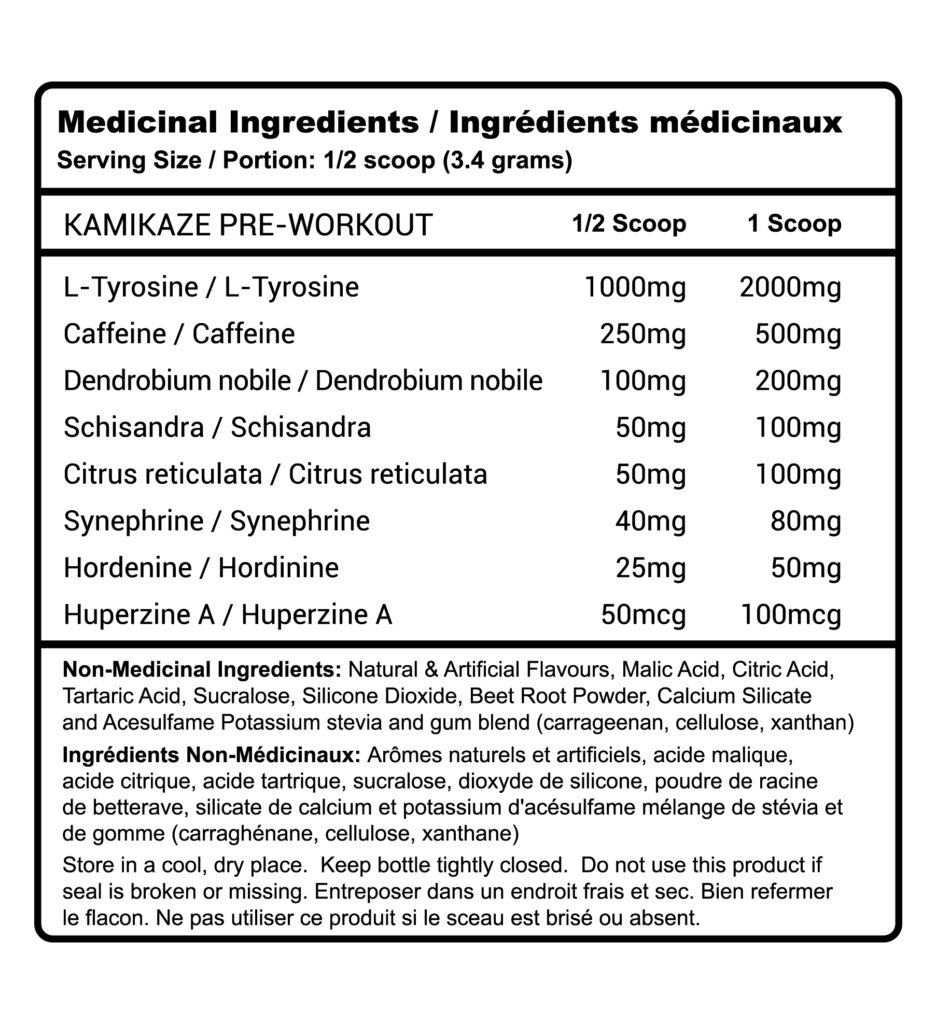 Kamikaze RP nutrition facts